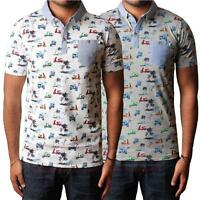 Mens D Code 1X2257 pique polo shirt short sleeve t-shirt top with scooter print