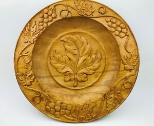 """Wooden Plate Hand Carved Germany Grape Vines Wine Home Decor Wall Hanging 13"""""""