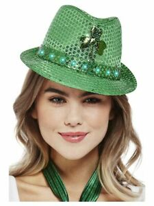 Paddy's Day Light Up Sequin Trilby Hat Adults St Patricks Day Fancy Dress Prop