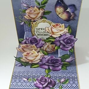 Handmade 3D pop up Mother's day card or Birthday card purple roses