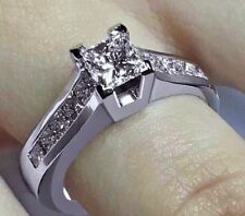 1.30CT PRINCESS CUT DIAMOND ENGAGEMENT WEDDING RING 14K WHITE GOLD PD661208