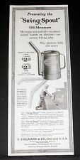 "1919 OLD MAGAZINE PRINT AD, EDELMANN ""SWING-SPOUT"" OIL-MEASURE CAN, NO WASTE!"