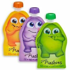 Reusable Food Pouch Little Mashies Infant Baby Eco BPA 130ml Each 10 Pack