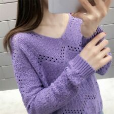 Womens Knitted Long Sleeve Sweater Tops Ladies Casual Loose Jumper Pullover UK