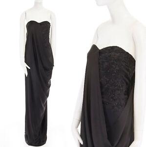 new ALEXANDER MCQUEEN 2008 black bead embroidery draped silk gown dress IT38 XS