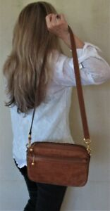 $1480. genuine GUCCI Italy SHOULDER BAG Brown CROSS BODY PURSE Leather