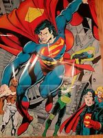 1993 Superman JLA DC action comic book poster 1:Green Lantern/Superboy/Supergirl