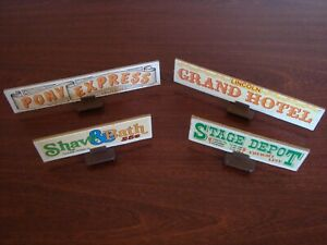 Lincoln Logs Lot 4 Vintage Roof Signs with Holders Double Sided