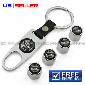VALVE STEM CAPS KEYCHAIN KEYRING WHEEL FOR VOLVO KEY FOB KEYS VS82 - US SELLER