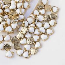 6 Tiny Heart Charms Enamel Gold White Love Findings Dangles Miniature