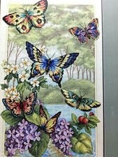 """Butterfly Forest Counted Half Cross Stitch Kit  35223 Gold Collection10""""X16"""" NEW"""