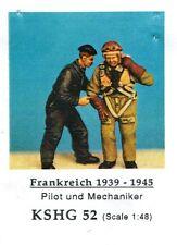 HECKER GOROS KSHG 52 - PILOT UND MECHANIKER DEUTSCHLAND 1939-45 1/48 WHITE METAL