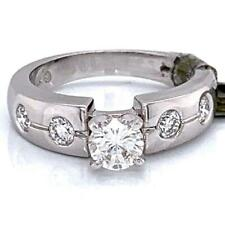 0.91 TCW Round Diamonds Engagement Ring In Solid 14k White Gold Size 6.5