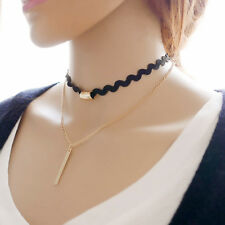 Infinity Women Double Layers Chain Choker Chunky Statement Bib Necklace Jewelry
