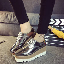 Womens Shiny Lace Up Flats Double Platform Creepers Shoes Wedge Oxfords Fashion