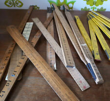 Bundle of 7 Vintage Wooden Plastic Rulers Crafts Upcycling Collection Props (14)