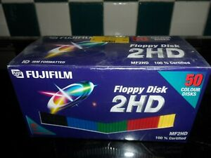 NEW 50 VINTAGE 2HD FLOPPY DISK COLOUR (SEALED)