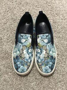 $595 Gucci Supreme Bloom Blue Flower Slip On Sneakers Ace UK9.5 US10.5