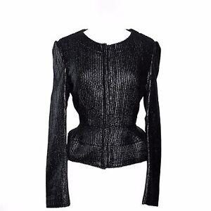 Burberry Prorsum Black Scaled Patent Leather Peplum Jacket Size 46