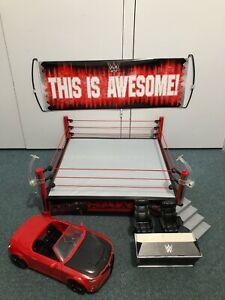 WWE Wrestling RAW Elite Scale Ring + Slam Mobile Figures Punjiabi The Great Khau