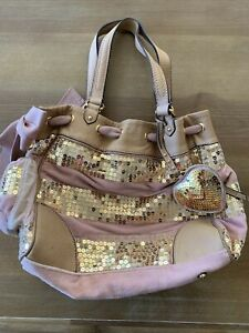 Juicy Couture Gold Sequence Stripped Pink HOBO Bag