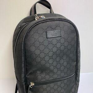 Gucci GG Nylon Supreme Canvas & Leather Rucksack, Holdall, Backpack, Black, NEW