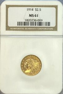 NGC MS61 1914 $2.5 Indian Head Gold Coin.! BU.!