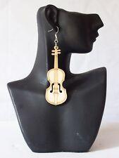 Trendy Geige Holz Ohrringe   Ohrschmuck Ohrhänger
