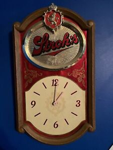 Working Vintage 1986 STROH'S BEER Sign CLOCK Battery Operated