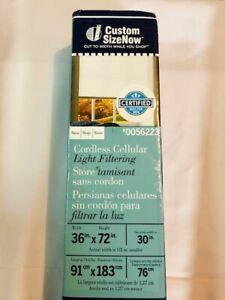 """LEVOLOR Light Filtering Cordless Cellular Shade, Snow 36""""x72"""" #56223"""