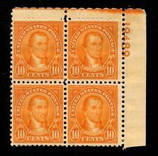 10709 OAS-CNY SCOTT 642 – 1927 10c Monroe, orange PLATE BLOCK MH $22