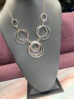 "Vintage Silver Link Bold Statement Interlocking Circles  Necklace 18"" Long"