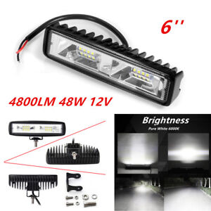 Universal 48W 16 LED Work Light Flood Beam Bar Car SUV OffRoad Driving Fog Lamps