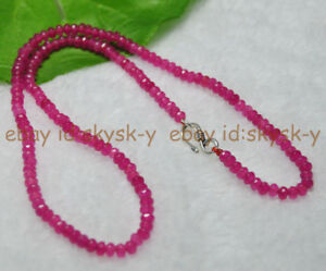 """Long 26"""" 2x4mm Rose Ruby Faceted Roundel Gems Beads Necklace Silver Clasp AAA"""