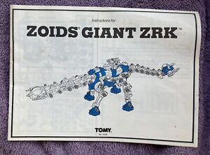 Zoids Giant ZRK Instuction Manual 1983