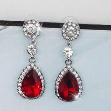Pendientes Diamante Plata Boda Cristal De Lágrima Mujer Aretes Regalo De Joyería
