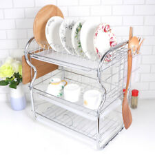 3 Tier Kitchen Chrome Dish Drainer Cutlery Cup Plates Holder Sink Rack Drip Tray