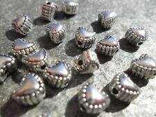 2x Metall Perlen aus Kupfer versilbert Schmuck DIY Basteln 17x20mm Herz sz391