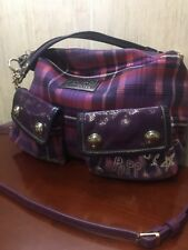 New!! Coach Poppy Tartan Plaid Graffiti Shoulder Crossbody Bag #16120 Purple