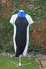 Debenhams Black White calf length cap sleeve figure flattering dress size 18