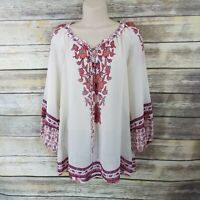 Figueroa and Flower Size L Floral Boho Peasant Ivory PinkTop Shirt Blouse