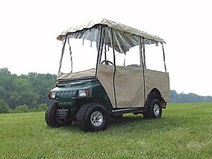 """Beige 4 Sided 4 Passenger Enclosure For 80"""" Golf Cart Tops Universal Fit"""