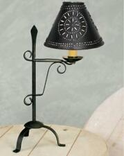 PRIMITIVE BLACK WROUGHT IRON SMALL SPADE DESK LAMP--SHADE SOLD SEPARATELY