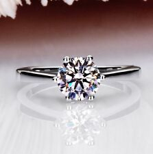 18K White Gold GP 5mm Crystal Ring Lady Bridal wedding Silver Ring Band