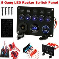 Car Boat 5 Gang LED Switch Panel 12V / 24V USB Toggle Circuit Breaker Voltmeter