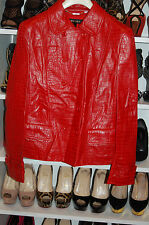 NWT Escada red embossed leather jacket sz.40