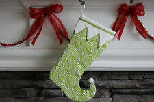 """Elf Christmas Stocking Fun Pattern Green on White in a """"jester"""" shape C32"""