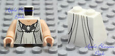 NEW Lego Female BRIDE MINIFIG TORSO & SKIRT -Girl White Flesh Wedding Dress Gown