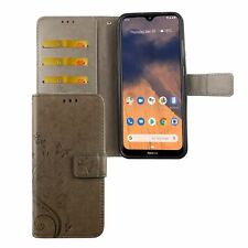Nokia 2.3 Handyhülle Schutztasche Cover Case Flip Kartenfach Wallet Etuis Grau