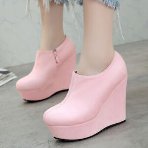 Ankle Boots Women Platform Chelsea Zip Faux Suede Wedge Heels Booties US 6 Pink
